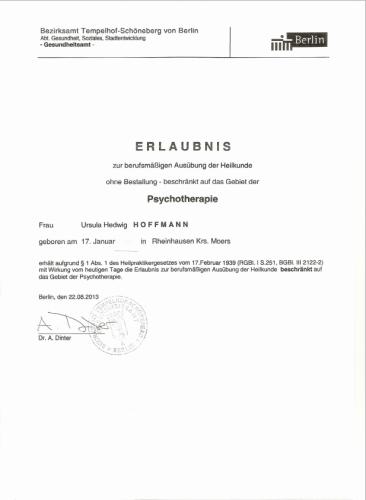 Erlaubnis Heilkunde Psychotherapie Berlin